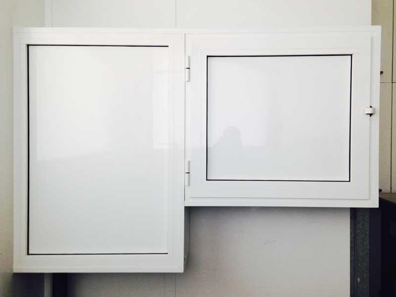 doble armario de aluminio color blanco para contador