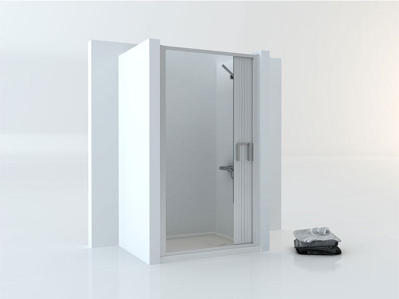 mampara de ducha tipo acordeón en color plata