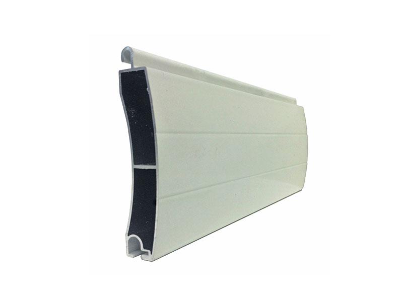 sección de una lama de aluminio de persiana de seguridad